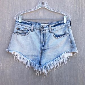Free People high rise frayed denim short shorts 28